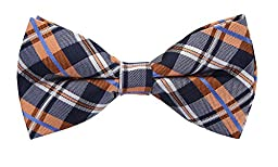 Scott Allan Mens 100% Silk Plaid Bow Tie - Navy Blue/Orange