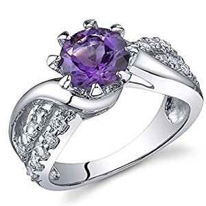 Revoni Regal Helix 1.25 carats Amethyst Ring in Sterling Silver Size P 1/2,