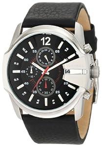 Diesel Master Chief Chronograph Black Dial Black Leather Mens Watch DZ4182