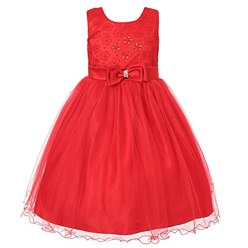 Richie House Girl's Princess Dress with Layered Mesh Bottoms and Bow RH1935-D-5/6