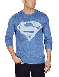 Superman Men's Cotton Blend Sweater (8903346477524_SP1DMW35_Small_Blue Melange Slub)