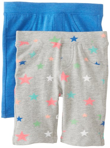 Freestyle Revolution Little Girls' French Terry Bermuda 2 Pack Set Solid Print, Star Print/Peri, 6 front-512113