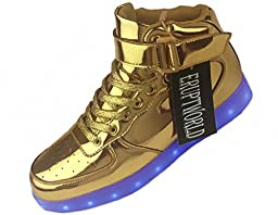 ERUPTWORLD Women Men Lace Up Lightweight USB Charging LED Sneakers Light up Shoes Gold