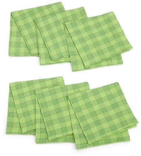 DII Grass Green Plaid Heavyweight Kitchen Essentials Dishcloths, Set of 6