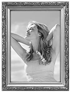 Malden International Designs Fashion Metals Bezel Wooden Picture Frame, 5 by 7-Inch, Silver