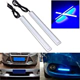 CHAMPLED® 2X Car COB LED Daytime Running Driving Light Strip Lamp DRL Daylight 14cm Color Blue For BMW M BENZ AUDI VW VOLKSWAGEN VOLVO JAGUAR PORSCHE