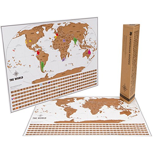 Scratch Off World Travel Tracker Map. Scratch your travels. US States, Flags and Gift Packaging (The World Of Maps compare prices)