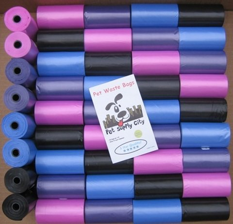 2200 Biodegradable, Dog Waste Bags, Pet Waste Bags – MULTIPLE COLORS – Purple, Pink, Black and Blue + FREE Bone Dispenser, by Pet Supply City