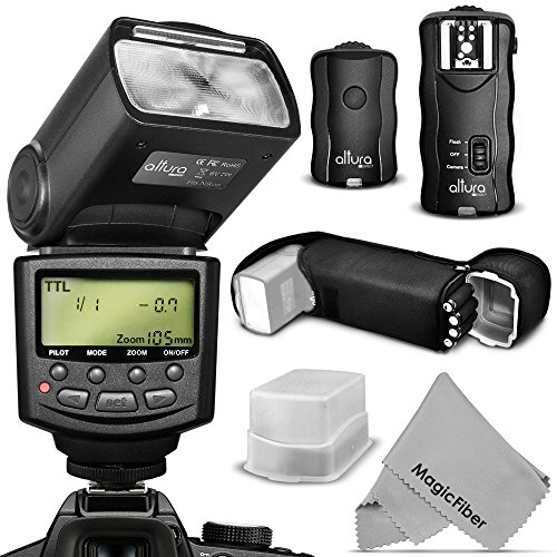 Altura Photo Flash Kit For Nikon Dslr D7100 D7000 D5300 D5200 D5100 D5000 D3300 D3200 D3100 - Includes: Altura Photo I-Ttl Auto-Focus Dedicated Speedlite Flash + Wireless Camera Flash Trigger And Camera Remote Control Function + Cable-M Cord For Remote Co