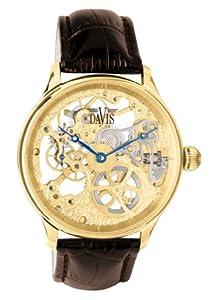 Amazon.com: Davis 0895-Mens Gold Skeleton Watch-Mechanical ...