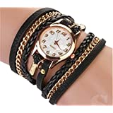Ubesta Fashion Women Retro Synthetic Leather Strap Watch Bracelet Wristwatch