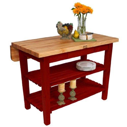 Nice John Boos Kitchen Island Bar Work Table in x in Barn Red Base