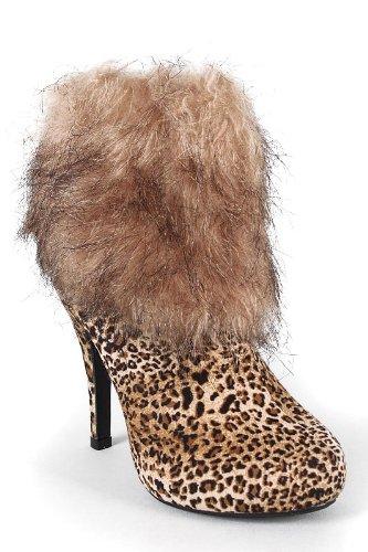 Maca Leopard Fur Suede Ankle Booties, 5.5