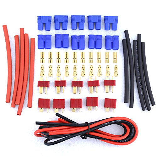 Glarks 20pcs Deans Style T-Plug / EC3 Female Male Adapter Connector Kit For RC LiPo Battery ESC Replacement Parts [Contains 14 Gauge Silicone Wire and Heat Shrink Tubing] (Deans Connector With Heatshrink compare prices)