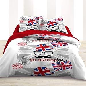 Cdaffaires housse de couette 220x240 cm 100 coton london for Housse de couette london 220x240