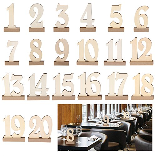 ROSENICE 20pcs 1-20 Wooden Wedding Table Number Holders (Wooden Numbers compare prices)