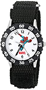 "Marvel Comics Kids' W000106 ""Time Teacher"" Stainless Steel Watch with Black Nylon Band"