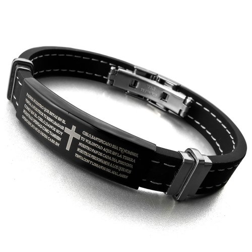 Justeel Jewellery Stainless Steel Bangle Bracelet Cuff Men Silver Cross Bible Black Rubber