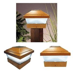2 x bronze solar powered led outdoor garden post deck cap for Garden decking lights uk