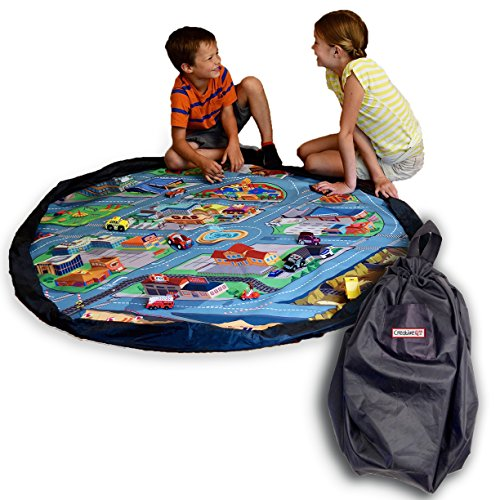 Fun field City Extra Large Drawstring Play Mat: 5 Foot Diameter: Play for Hours and Clean up in Seconds: Race Your Cars or Build with Your Blocks: Perfect Storage and Travel Solution. By Creative QT (Welcome To The City Of Champions compare prices)