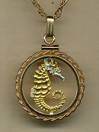 Stunning Singapore Seahorse - GOLD & SILVER coin cut outs IN Gold Filled Bezels
