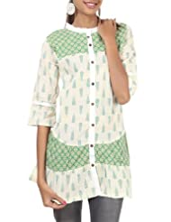 Rajrang Cotton Green, White Screen Printed Tunic Top, Size: M
