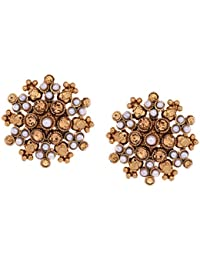 Gehnamart Yellow Gold Plated Pearl Designer Stud Earring