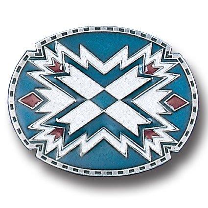 Pewter Belt Buckle - Southwestern Oval Blue Pewter Belt Buckle - Southwestern Oval Blue