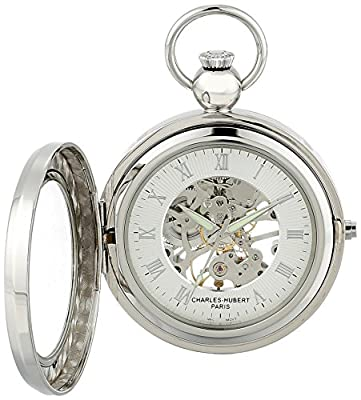 Charles-Hubert Pocket Watch 3849 Chrome Plated Picture Frame Hunter
