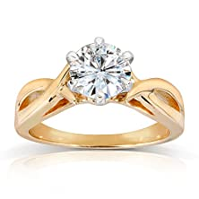 buy Round Moissanite Solitaire Engagement Ring 1 Carat (Ctw) In 14K Yellow Gold_7.5