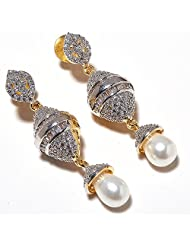 Earring Set One Gram Gold Plated CZ Pearl Gemstone Branded New Pave Stylish Tanishque Jewelry