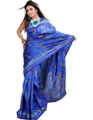 Exotic India True-Blue Patan Patola Ikat Saree From Gujarat With Woven Fl - Blue