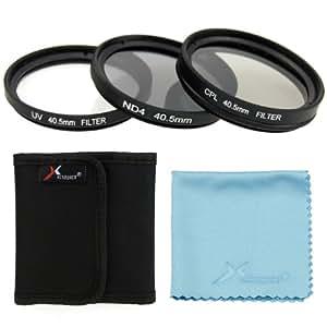Azzuro® 40.5mm UV + CPL + Filtre ND4 Set + chiffon pour Nikon 1 J1 V1 V2 appareil photo reflex numérique SANYO HD2000 HD1000 HD1010 Sony NEX 6 5TL Samsung 20-50mm NX1100 NX2000 NX300 Sony NEX-6 NEX-5T NEX-5R avec SELP 16-50mm / Toute caméra avec 40.5mm de filetage (Assurez-vous que le diamètre de l'objectif de votre appareil photo est 40.5mm) lf280