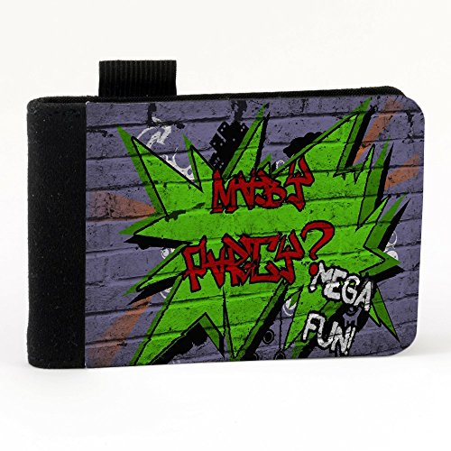 Graffiti 10010, Maybe Party Mega Fun, Nero Polyester Piccolo Cartella Congressi block notes Tasca Taccuino con Fronte di Sublimazione e alta qualità Design Colorato.Dimensioni A7-131x93mm.