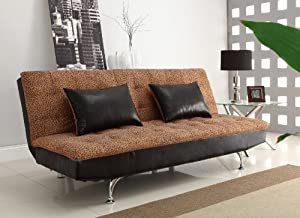 Futon Sofa Convertible Leopard Print Fabric Chromed