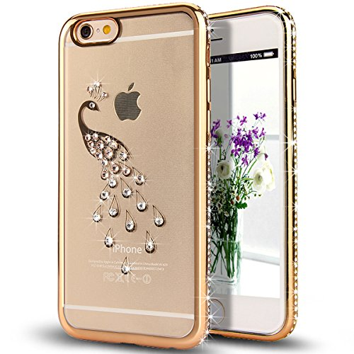 iPhone 6S Case,iPhone 6 Case,ikasus Gloden Peacock Bling Crystal Rhinestone Diamonds Clear Rubber Gloden Plating Frame Transparent TPU Soft Silicone Bumper Case Cover for Apple iPhone 6/6S 4.7