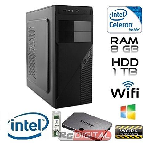 RGDIGITAL WORK IN PROGRESS DUAL8G - PC DESKTOP INTEL DUAL CORE 2,6 GHZ CASE ALANTIK RAM 8GB RAM HD 1TB HDMI DVI VGA DVD-RW 500W WIFI INCLUSO SISTEMA OPERATIVO WINDOWS PC FISSO INTEL DUAL CORE 2,6 GHZ COMPLETO ASSEMBLATO PRONTO ALL'USO DVI/VGA/HDMI USB VELOCE COMPLETO ED ELEGANTE PER USO UFFICIO CASA AZIENDA INTERNET SOCIAL NETWORK