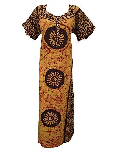 Indiatrendzs Women's Cotton Nighty Batik Print Nightwear Yellow/Maroon Maxi Nightgown XL