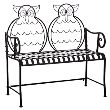 Black Metal Bench with Owl Detail, 19x40x38 by Evergreen Enterprises