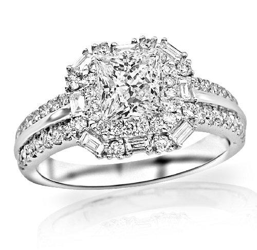 1.2 Carat Princess Cut Double Row Baguette And Round Halo Diamond Engagement Ring (D-E Color, Vs2-Si1 Clarity)