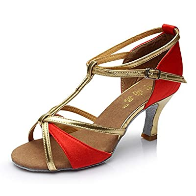 Hot-Selling Brand New Latin Dance Shoes High Heel for Ladies/Girls/Women/Ballroom Tango Shoes 7cm-Red with Gold fixed,6
