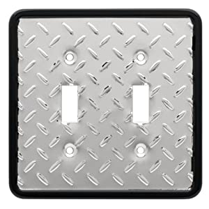 Brainerd 135861 Diamond Plate Double Switch Wall Plate / Switch Plate / Cover by BRAINERD