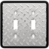 Brainerd 135861 Diamond Plate Double Switch Wall Plate / Switch Plate / Cover