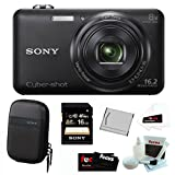 Sony Cyber-shot DSC-WX80/B 16MP Compact Zoom Digital Camera in Black + Sony 16GB SDHC + Sony Case + Replacement NP-BN1 Battery + Accessory Kit