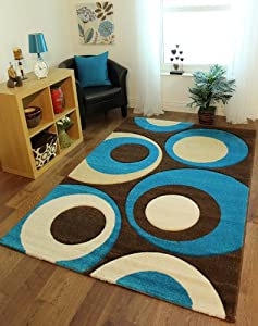 Havana 915 Thick Chocolate Brown And Teal Blue Living Room Rug 150 Cm