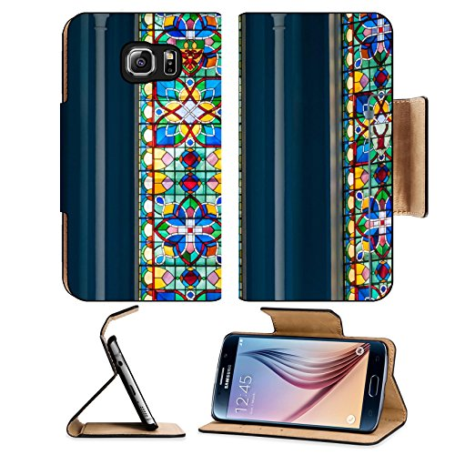 MSD Premium Samsung Galaxy S6 Flip Pu Leather Wallet Case IMAGE ID 20191147 Colorful stained glass in church
