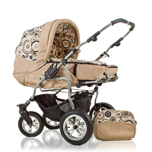 "DOUBLE/TWIN PRAM ""DUET"" INCL. 360° FRONT SWIVEL WHEELS - PARASOL - 2 x CARRY BASKETS - RAINCOVER - CHANGING BAG - IN COLOUR SAND-DECOR (D-21)"