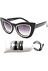 Wm3051-vp Style Vault Thick Bold Oversized Steampunk Cateye Sunglasses