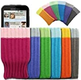 Mobilizers: Pack of 6 Stylish Soft Mobile Phone Socks For Motorola Defy / LG GD880 Mini / GM360 / Optimus One P500 - Color Includes ( Blue / Gray / Green / Orange / Pink / Purple )