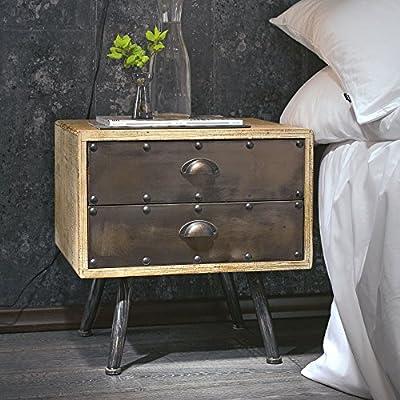 miaVILLA Beistelltisch West Nachttisch 2 Schubladen Industrial-Style Holz Metall Braun